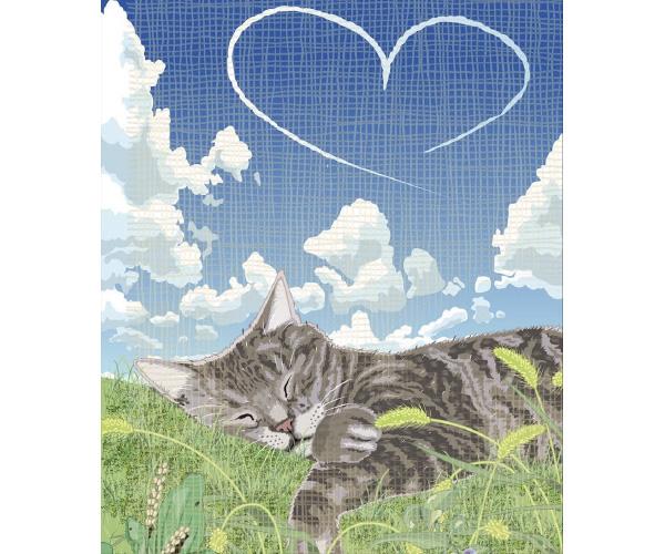 ~愛らしい猫の絵に言葉を添えて~勝間としをの幸せ猫展